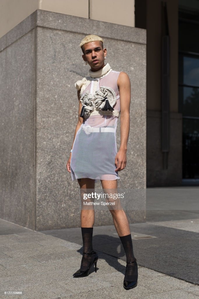 Maitao is seen attending New York Men's Day at Dune Studios during Men's New York Fashion Week wearing a white avant garde outfit on July 10, 2017 in New York City.