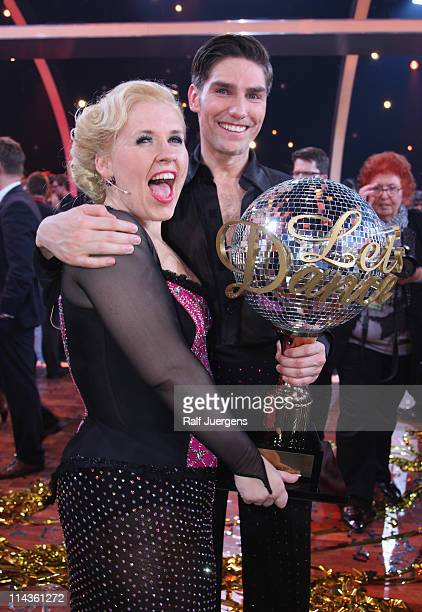 Maite Kelly and Christian Polanc pose after wining the final of the 'Let's Dance' TV show at Coloneum on May 18 2011 in Cologne Germany