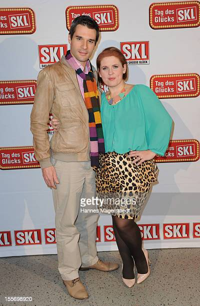 Maite Kelly and her husband Florent Raimond attend the SKL show 'Tag Des Gluecks' at the Bavaria Studios on November 2 2012 in Munich Germany