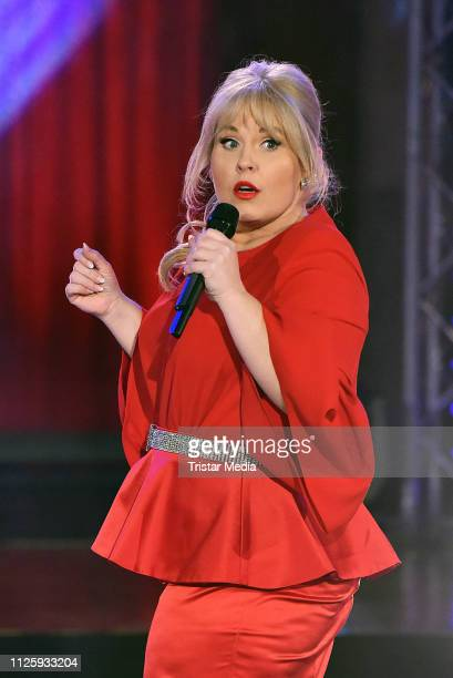 """Maite Kelly performs at the """"Meine Schlagerwelt - Die Party mit Ross Antony"""" MDR TV show recording at Eventpalast on February 19, 2019 in Leipzig,..."""