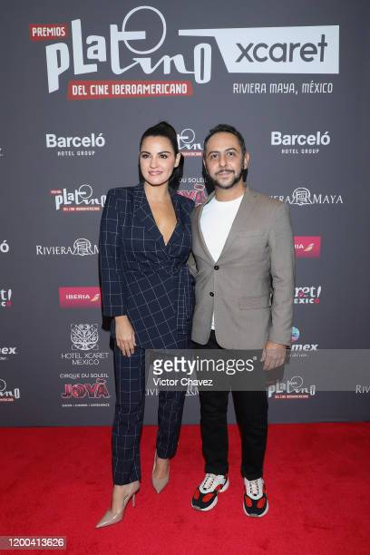 Maite Perroni and Humberto Busto attend the press conference and red carpet of the Premios Platino Xcaret 2020 at Hotel Barcelo Reforma on February...