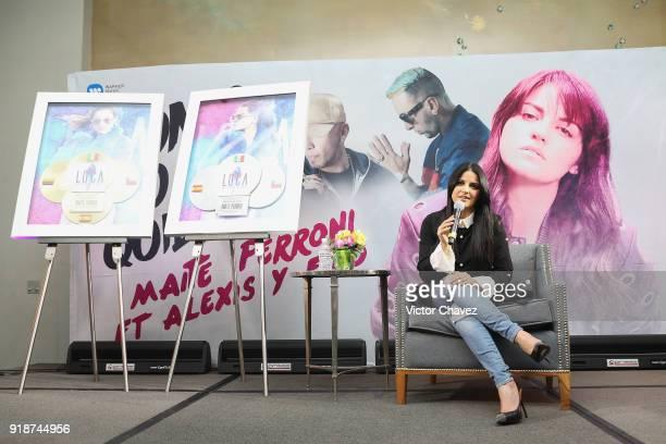 Maite Perroni attends a press conference to promote her new single 'Como Yo Te Quiero' at St Regis Hotel on February 15 2018 in Mexico City Mexico