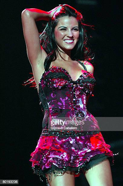 Maite Perroni of RBD performs in concert at American Airlines Arena on March 10 2008 in Miami Florida