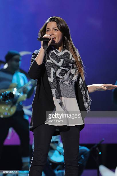 Maite Perroni performs onstage during Univision's Premios Juventud 2015 rehearsal at Bank United Center on July 15 2015 in Miami Florida