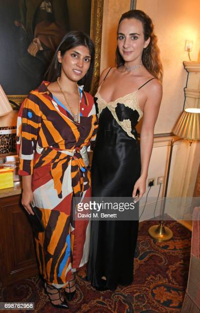 Maithili Khatau and Alexia Niedzielski attend a cocktail evening to celebrate the Edie Parker Resort 2018 collection at Mark's Club on June 20 2017...