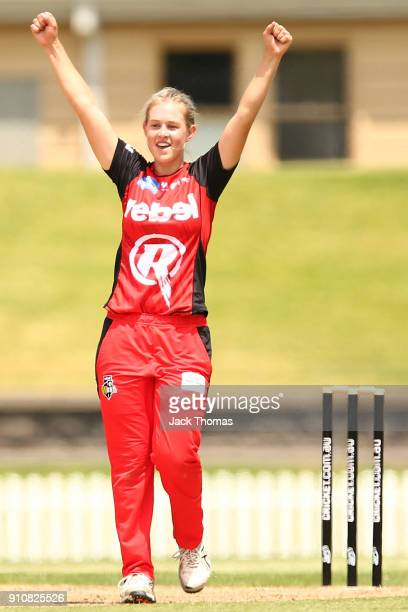 Maitlan Brown of the Renegades celebrates a wicket during the Women's Big Bash League match between the Melbourne Renegades and the Perth Scorchers...