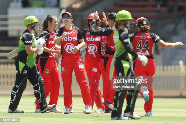Maitlan Brown of the Renegades celebrates after taking a catch to dismiss Rachel Priest of the Thunder during the Women's Big Bash League WBBL match...