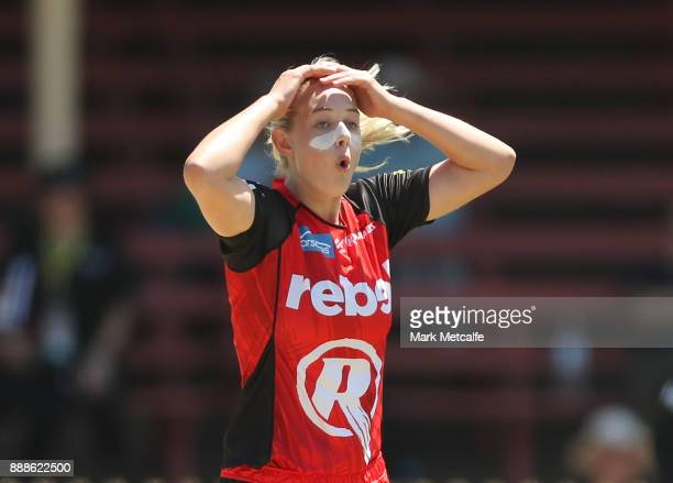 Maitlan Brown of the Renegades reacts during the Women's Big Bash League WBBL match between the Melbourne Renegades and the Sydney Thunder at North...