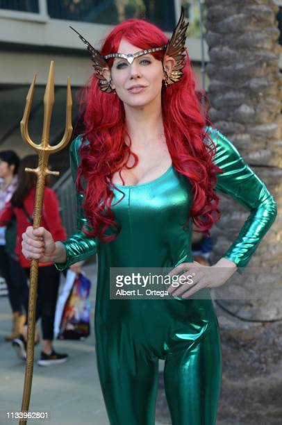 Maitland Ward dressed as Mera from 'Aquaman' attends WonderCon 2019 Day 2 held at Anaheim Convention Center on March 30 2019 in Anaheim California