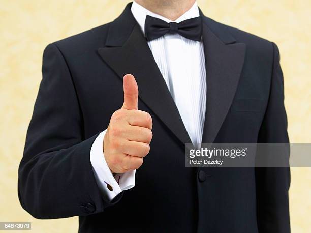 maitre d', butler, waiter, security man - dinner jacket stock pictures, royalty-free photos & images