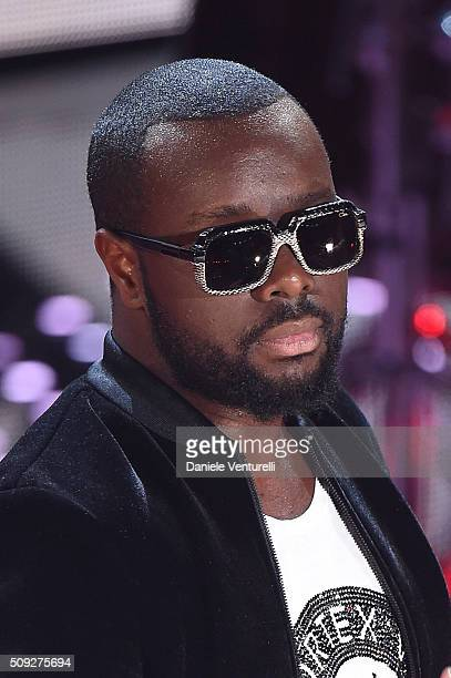 Maitre Gims attends the opening night of the 66th Festival di Sanremo 2016 at Teatro Ariston on February 9 2016 in Sanremo Italy