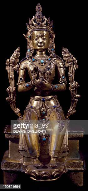 Maitreya Buddha of the future European seated posture gilded bronze statue Tibet Tibetan Civilisation 19th century
