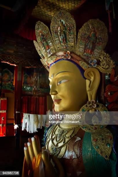 maitreya buddha: thiksay monastery, leh, ladakh, india. - tibetan culture stock pictures, royalty-free photos & images