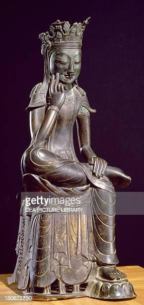 Maitreya gilded bronze statue Korea Korean Civilisation Three Kingdoms period 7th century