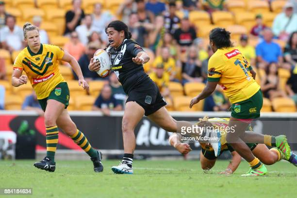 Maitua Feterika of the Ferns is tackled during the 2017 Rugby League Women's World Cup Final between Australia and New Zealand at Suncorp Stadium on...