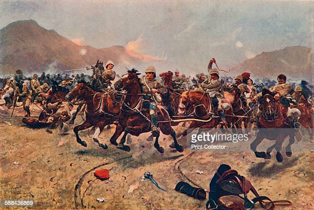 Saving the Guns,' 1883 . Royal Horse Artillery fleeing from an Afghan attack at the Battle of Maiwand in 1880 during the Second Anglo-Afghan War....