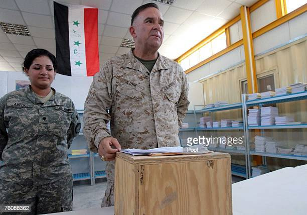 S Maj Gen Doug Stone Detainee Operations commanding general delivers a speech during the opening of Dar AlHikmah a juvenile detainee education...
