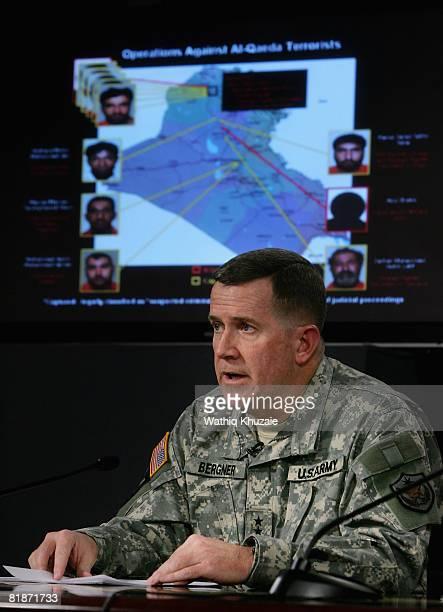 Maj Gen Kevin J Bergner Spokesman MultiNational Force Iraq speaks to the media during a press confernece with Rear Adm Kathleen M Dussault Commander...