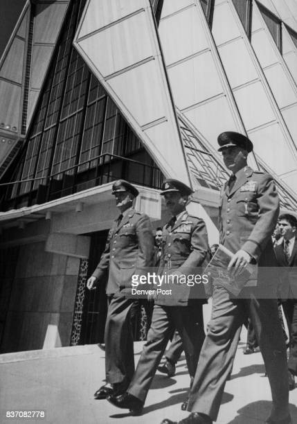 Maj Gen Warren right and other Air Force Academy officers accompany King Hussein on a tour of the Academy Chapel Civilians at the ceremony Tuesday...
