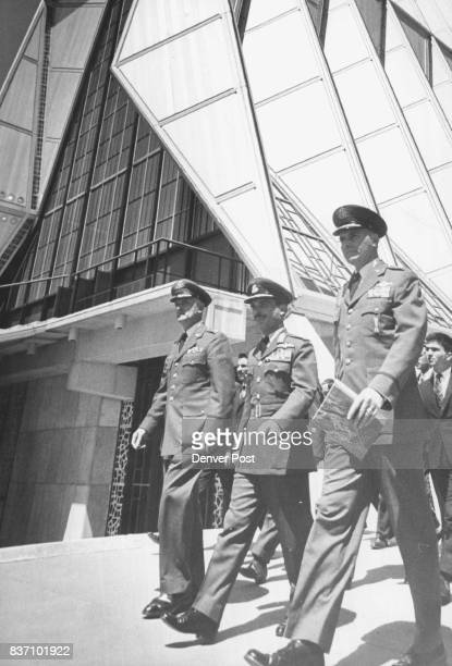 Maj Gen Warren right and other air force academy offices accompany king Hussein on a tour of the academy chapel Civilians at the ceremony Tuesday...