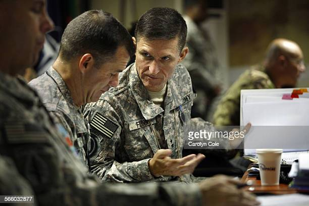 KABUL AFGHANISTAN––Maj General Michael T Flynn right is director of intelligence in Afghanistan Flynn's brother Col Charlie Flynn left is aide to...
