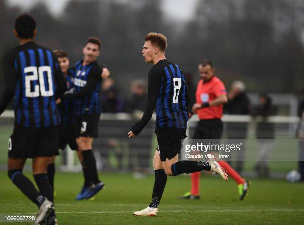 Maj Roric of FC Internazionale celebrates after scoring the second goal during the UEFA Youth League match between Tottenham Hotspur and FC...