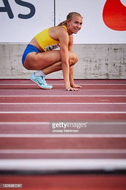 Maja Askag of Sweden celebrates in the Women's Long Jump Final during European Athletics U20 Championships Day 4 at Kadriorg Stadium on July 18, 2021...