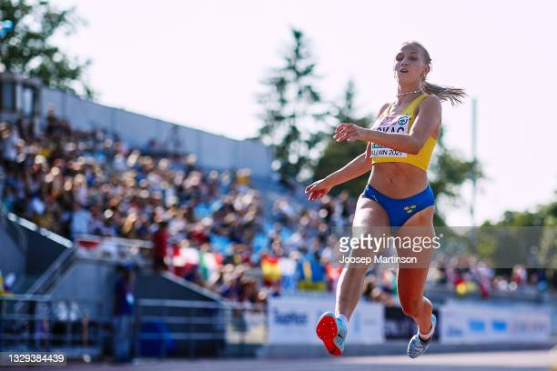 Maja Askag of Sweden competes in the Women's Long Jump Final during European Athletics U20 Championships Day 4 at Kadriorg Stadium on July 18, 2021...