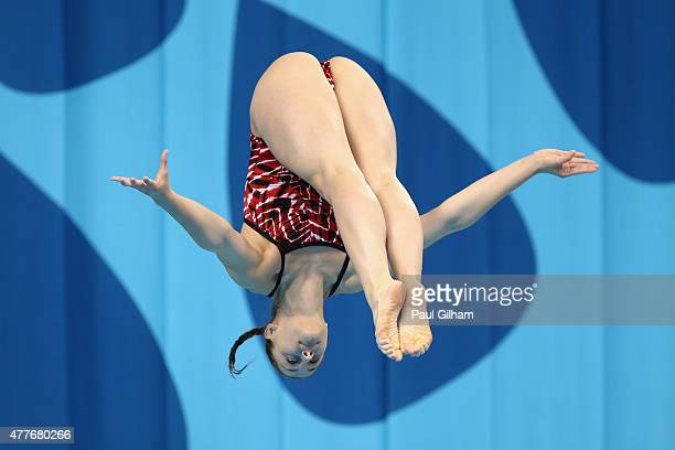Maja Boric of Croatia competes in the Women's 1m Springboard diving during day seven of the Baku 2015 European Games at the Baku Aquatics Centre on...