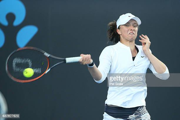 Maja Chwalinska and Iga Swiatek of Poland compete in their Junior Girls' Doubles Final match against Bianca Vanessa Andreescu of Canada and Carson...