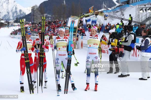 Maja Dahlqvist of Sweden and Stina Nilsson of Sweden celebrates following their victory as Ingvild Flugstad Oestberg of Norway and Maiken Caspersen...