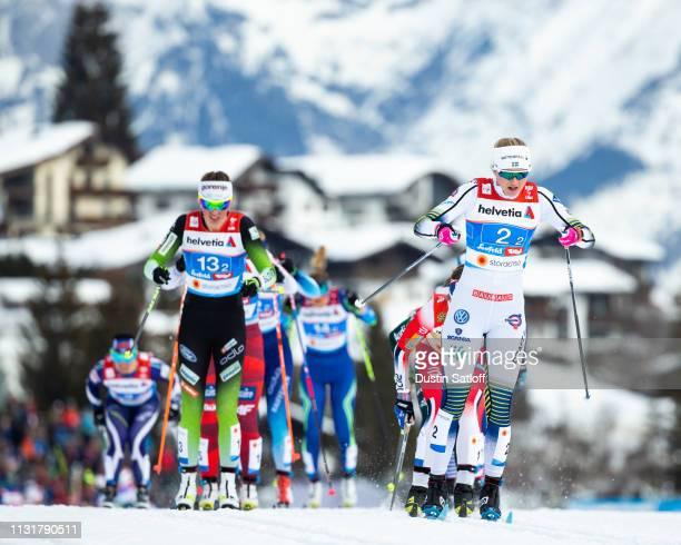 Maja Dahlqvist of Sweden competes in the Cross Country Women's Team Sprint race during the FIS Nordic World Ski Championships on February 24 2019 in...