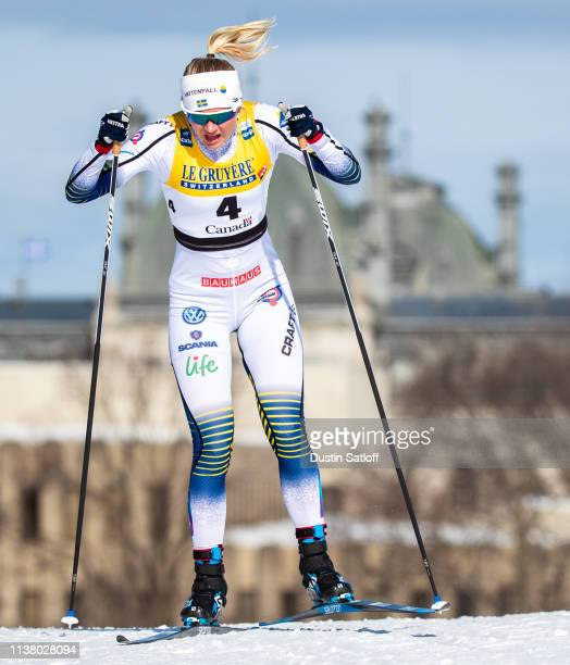 Maja Dahlqvist of Sweden competes in the Women's 10km freestyle pursuit during the FIS Cross Country Ski World Cup Final on March 24, 2019 in Quebec...