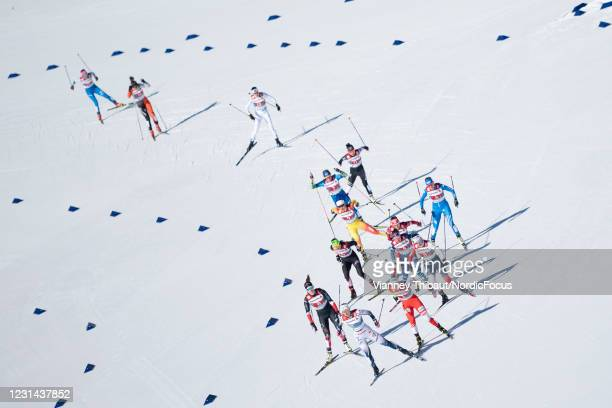 Maja Dahlqvist of Sweden takes first place during the Women's Cross Country Team Finals at the FIS Nordic World Ski Championships Oberstdorf at on...