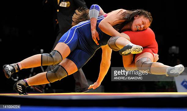 Maja Gunvor Erlandsen from Norway fights with Kateryna Burmistrova from Ukraine in the finals for the first place of the European Wrestling...