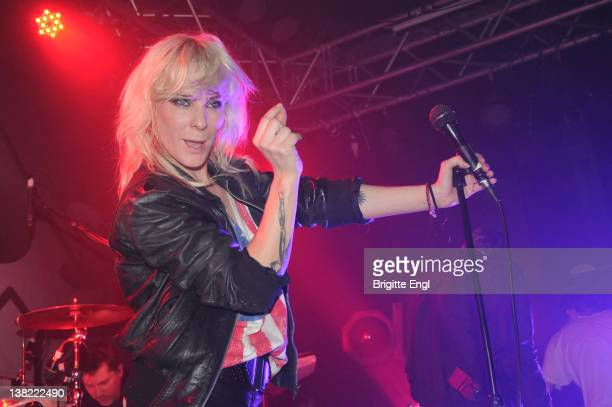 Maja Iversson of The Sounds performs at Kings College on February 4 2012 in London England