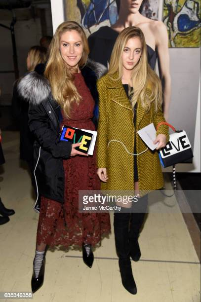 Maja Malnar and Rosa Crespo attend the exhibition for the Zac Posen collection during New York Fashion Week The Shows on February 14 2017 in New York...