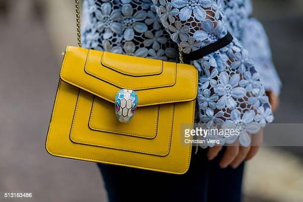 Maja Malnar detail of Bulgari bag during Milan Fashion Week Fall/Winter 2016/17 on February 29 in Milan Italy