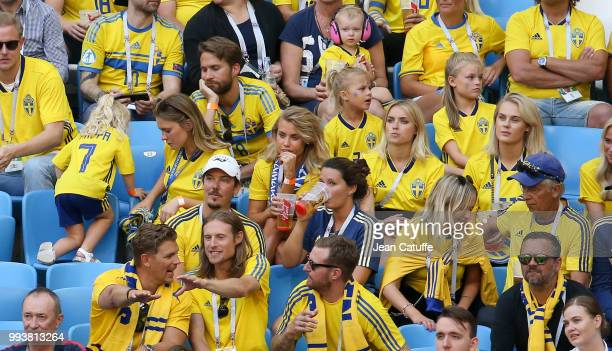 Maja Nilsson wife of Victor Lindelof Camilla SjodahlEssen wife of Albin Ekdal Sanna Dahlstrom wife of John Guidetti of Sweden attend the 2018 FIFA...