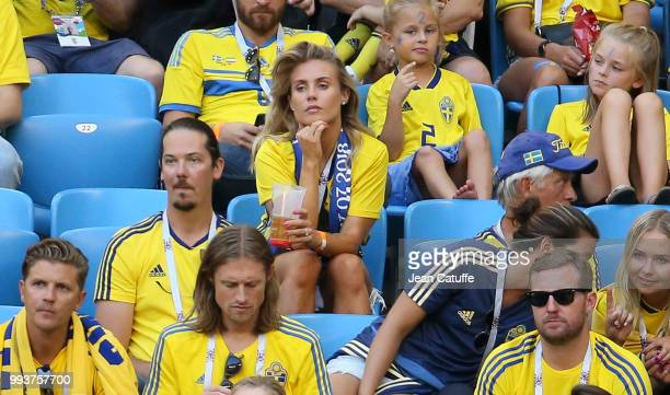 Maja Nilsson wife of Victor Lindelof of Sweden attends the 2018 FIFA World Cup Russia Quarter Final match between Sweden and England at Samara Arena...