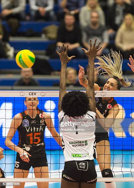 Maja Ognjenovic of Eczacibasi VitrA in action against Brittnee Cooper of Dresden during the Volleyball European Champions League Group D match...