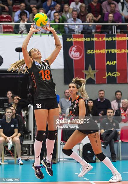 Maja Ognjenovic of Eczacibasi VitrA in action during the Volleyball European Champions League Group D match between Dresdner SC and Eczacibasi VitrA...