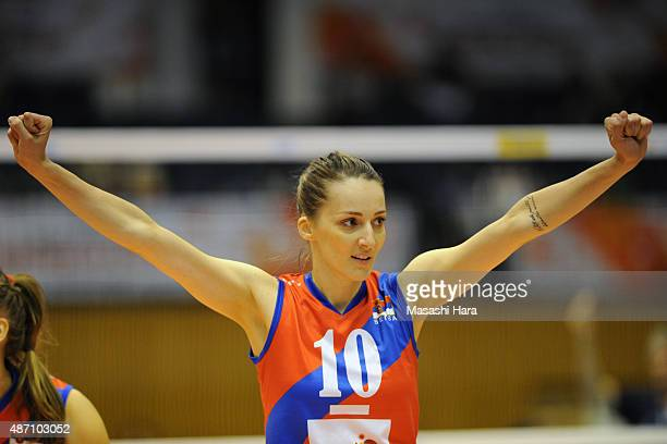 Maja Ognjenovic of Serbia celebrates a point during the match between Argentina and Serbia during the FIVB Women's Volleyball World Cup Japan 2015 at...