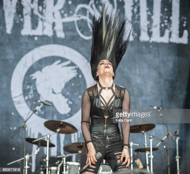 Maja Shining of Forever Still performing live on stage on day 1 at Bloodstock Festival at Catton Hall on August 11 2017 in Burton Upon Trent England
