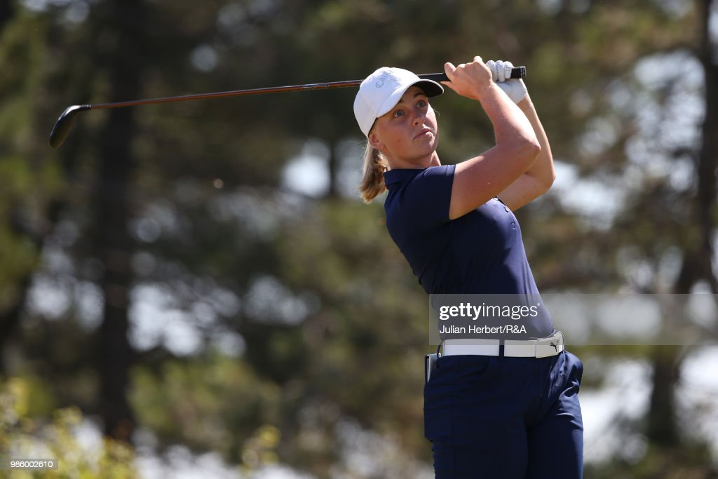 maja stark of sweeden plays her first shot on the 1st tee during day