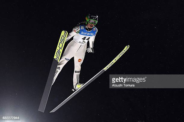 Maja Vtic of Slovenia competes in Ladies' HS106 during the FIS Ski Jumping World Cup Ladies 2017 In Zao at Zao Jump Stadium on January 21 2017 in...
