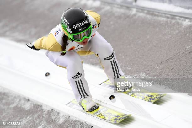 Maja Vtic of Slovenia competes in the Women's Ski Jumping HS100 qualification rounds during the FIS Nordic World Ski Championships on February 23...