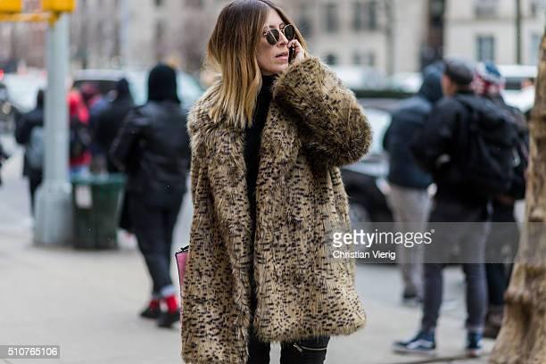 Maja Weyhe wearing a fur coat seen outside Tommy Hilfiger during New York Fashion Week Women's Fall/Winter 2016 on February 15 2016 in New York City