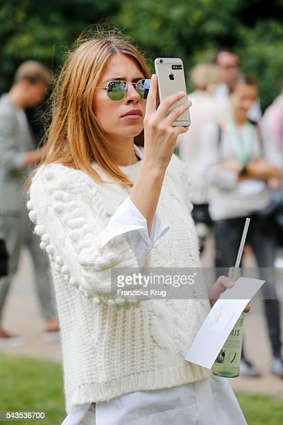 Maja Wyh attends the Dorothee Schumacher show during the MercedesBenz Fashion Week Berlin Spring/Summer 2017 at Elisabethkirche on June 29 2016 in...