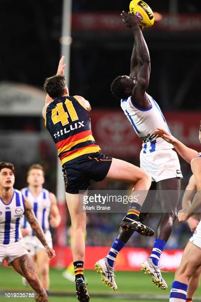 Majak Daw of the Kangaroos marks in front of Mitch McGovern of the Adelaide Crows during the round 22 AFL match between the Adelaide Crows and North...
